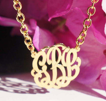Keti Sorely Designs Small 24K Gold Plated Monogram Necklace Apparel & Accessories > Jewelry > Necklaces