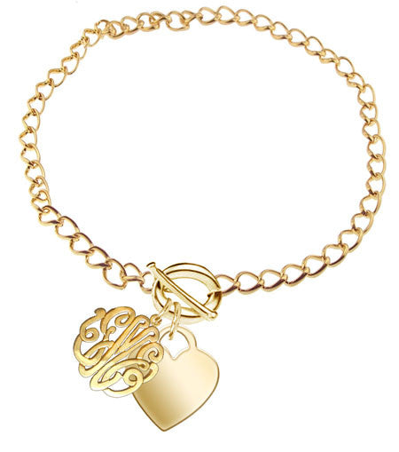 Keti Sorely Designs 24K Gold Plated Monogram Bracelet Apparel & Accessories > Jewelry > Bracelets