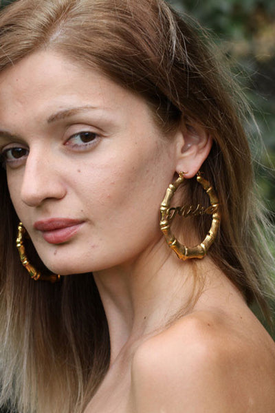 Keti Sorely Designs 24K Gold Plated Bamboo Name Earrings Apparel & Accessories > Jewelry > Earrings - 4
