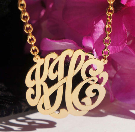 Keti Sorely Designs Large 24K Gold Plated Monogram Necklace Apparel & Accessories > Jewelry > Necklaces