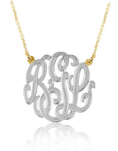 Keti Sorely Designs Large Mixed Metal Diamond Cut Monogram Necklace Apparel & Accessories > Jewelry > Necklaces - 1