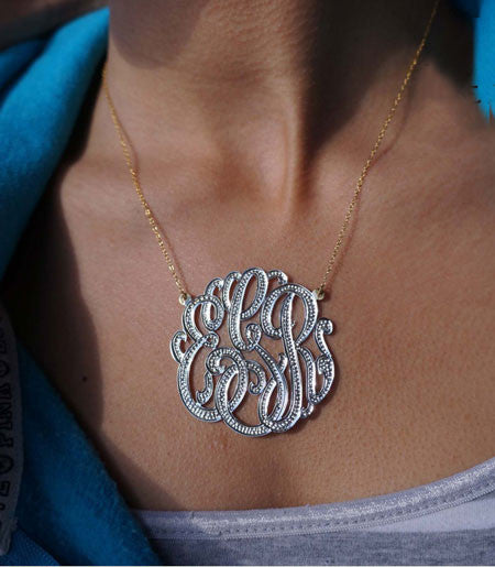 Keti Sorely Designs Large Mixed Metal Diamond Cut Monogram Necklace Apparel & Accessories > Jewelry > Necklaces - 2