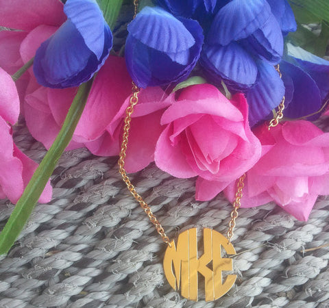 Keti Sorely Designs Gold Plated Block Monogram Necklace Apparel & Accessories > Jewelry > Necklaces