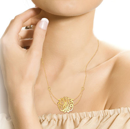 Keti Sorely Designs 24K Gold Plated Monogram Necklace on Double Chain Apparel & Accessories > Jewelry > Necklaces - 2