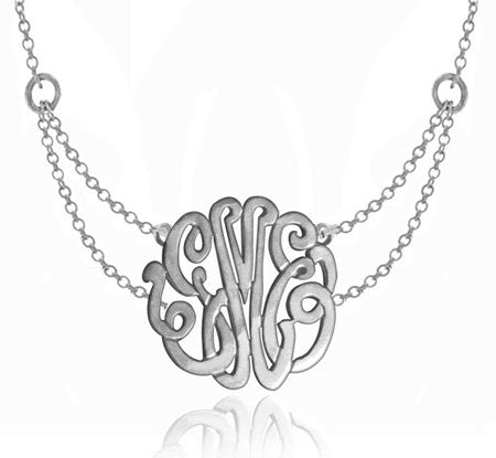 Keti Sorely Designs Sterling Silver Monogram Necklace on Double Chain Apparel & Accessories > Jewelry > Necklaces