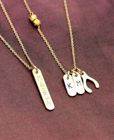 Nashelle Personalized Identity Lucky Bars Necklace with Mini Bars necklace