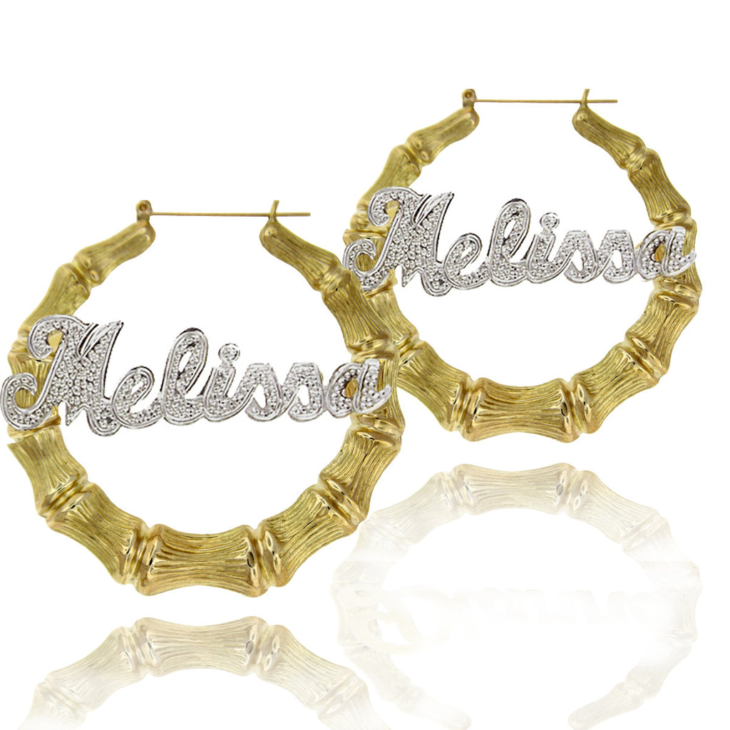 Mixed Metal Large Bamboo Name Hoop Earrings