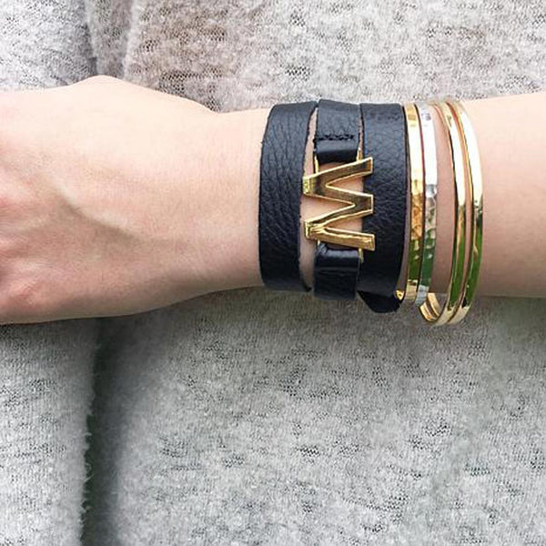 Lisa Stewart Leather Wrap Initial Bracelet Apparel & Accessories > Jewelry > Bracelets - 3