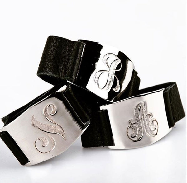 Lisa Stewart Leather Initial Cuff Bracelet 3