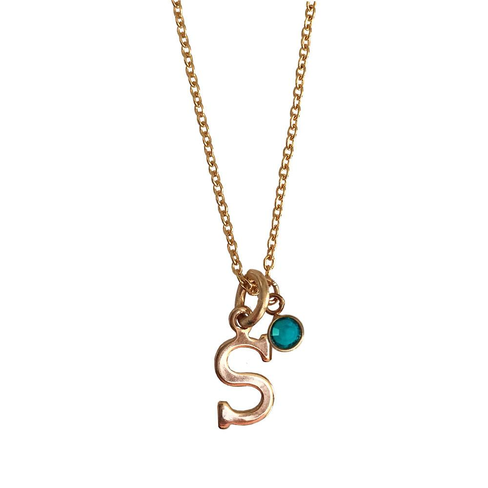 Mini Script Initial Necklace with Birthstone