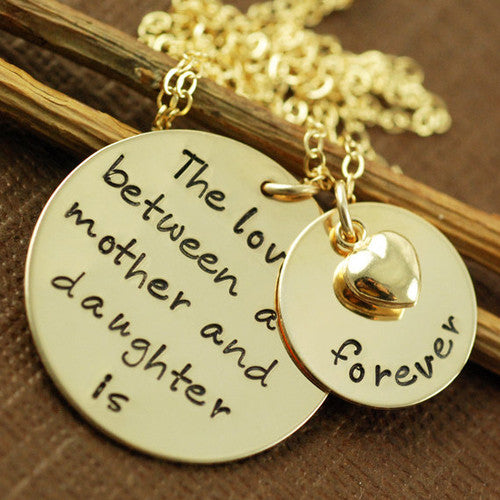 Hand Stamped Love Between Mother and Child Necklace Apparel & Accessories > Jewelry > Necklaces - 1
