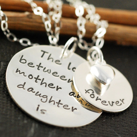 Hand Stamped Love Between Mother and Child Necklace Apparel & Accessories > Jewelry > Necklaces - 2