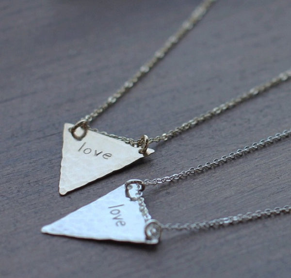 Personalized Hand Stamped Triangle Necklace - Nashelle Apparel & Accessories > Jewelry > Necklaces - 3