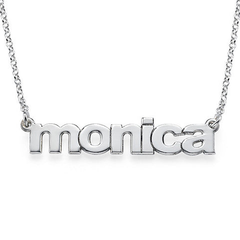Sterling Silver Nameplate Necklace - Lowercase Block Apparel & Accessories > Jewelry > Necklaces - 1