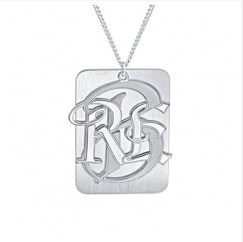 Mens Monogram Dog Tag Necklace