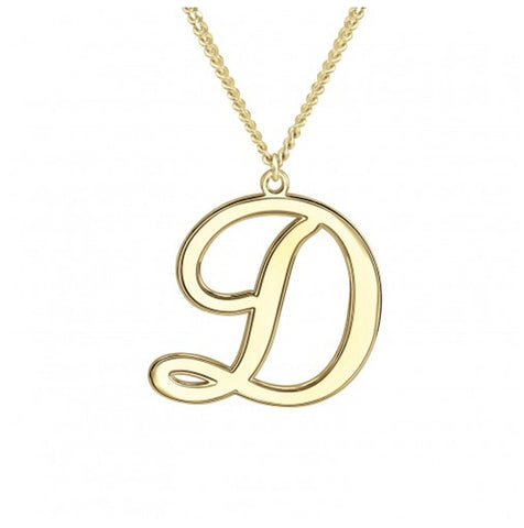 Mens Script Initial Necklace