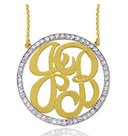 Cubic Zirconia Rimmed Monogram Necklace by Purple Mermaid Designs Apparel & Accessories > Jewelry > Necklaces - 1