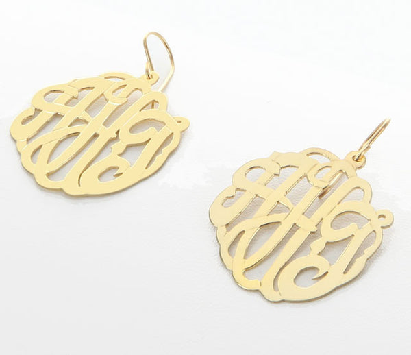 Gold Script Dangle Earrings by Purple Mermaid Designs~ Apparel & Accessories > Jewelry > Earrings - 2