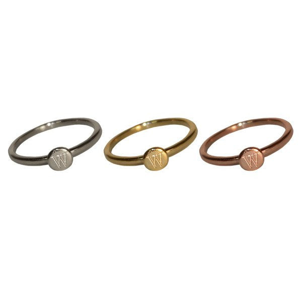 14K Gold Engraved Mini Disc Initial Ring