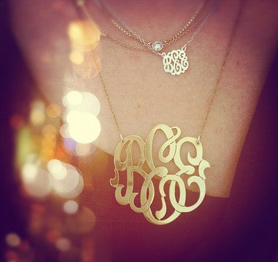 Moon and Lola Gold Filled Cutout Mini Monogram Necklace Apparel & Accessories > Jewelry > Necklaces - 5