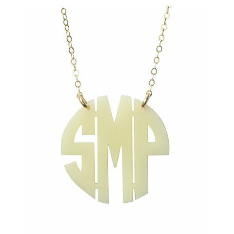 Acrylic Round Monogram Necklace by Moon and Lola Apparel & Accessories > Jewelry > Necklaces - 5