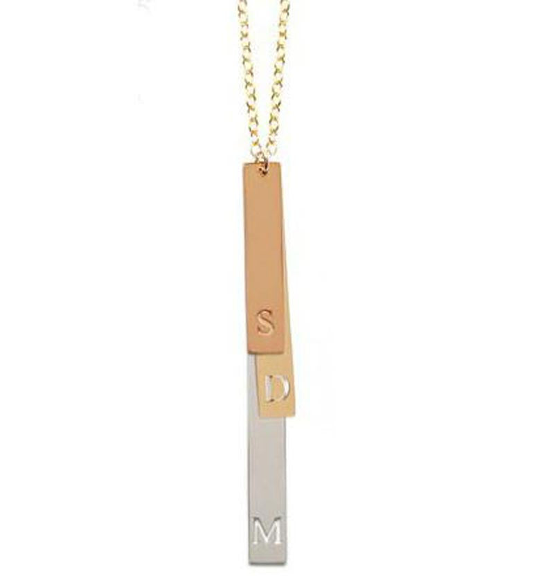 Miriam Merenfeld Mixed Metal Multiple Vertical Initials Necklace Apparel & Accessories > Jewelry > Necklaces