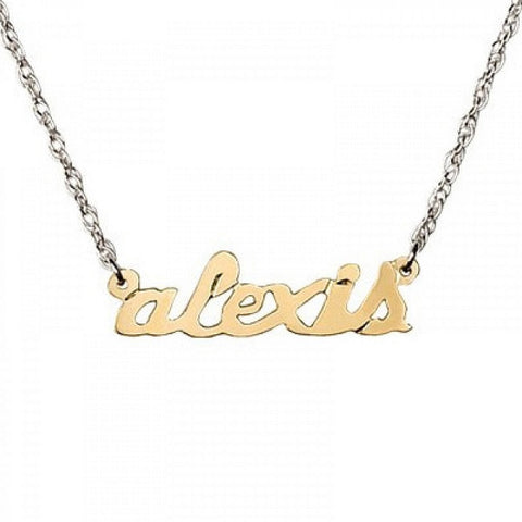 Jane Basch Mixed Metal Petite Personal Nameplate Necklace Apparel & Accessories > Jewelry > Necklaces