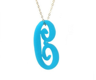 Acrylic Script Initial Necklace by Moon and Lola Apparel & Accessories > Jewelry > Necklaces - 1