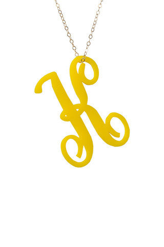 Acrylic Script Initial Necklace by Moon and Lola Apparel & Accessories > Jewelry > Necklaces - 3