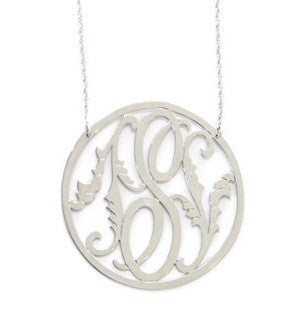 Moon and Lola Rimmed Leaf Initial Necklace Apparel & Accessories > Jewelry > Necklaces - 1