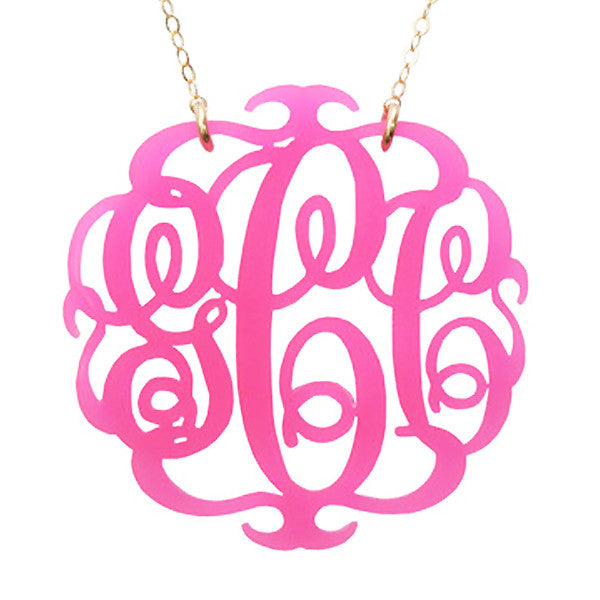Acrylic Script  Monogram Necklace by Moon and Lola Apparel & Accessories > Jewelry > Necklaces - 4