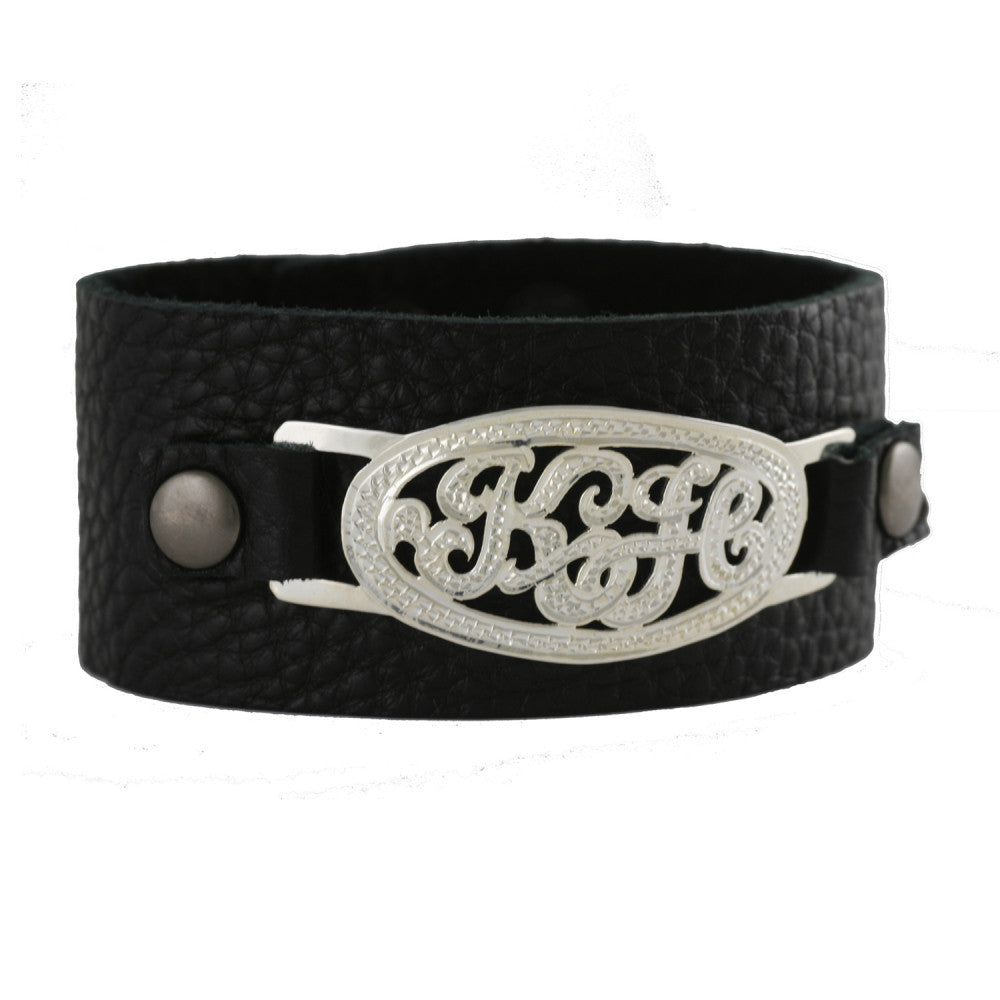 Sterling Silver Monogram Leather Cuff Bracelet-Purple Mermaid Designs Apparel & Accessories > Jewelry > Bracelets