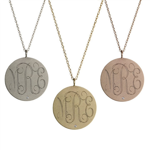 14K Gold Medium Round Diamond Monogram Necklace - Golden Thread Apparel & Accessories > Jewelry > Necklaces