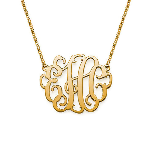 Script Monogram Necklace - 18K Gold Plated Apparel & Accessories > Jewelry > Necklaces - 3