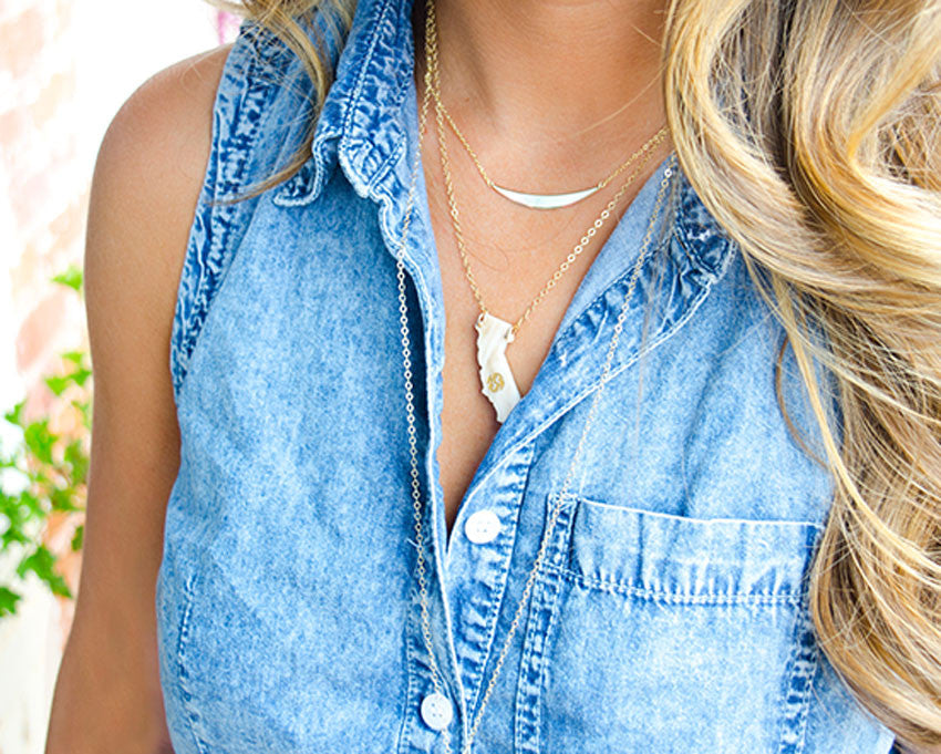Acrylic State Monogram Necklace - Moon and Lola Apparel & Accessories > Jewelry > Necklaces - 1