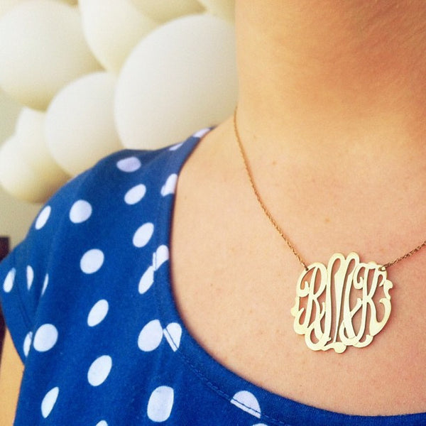 Moon and Lola Gold Filled Cutout Monogram Necklace Apparel & Accessories > Jewelry > Necklaces - 2