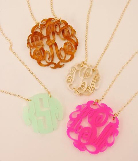 Acrylic Script  Monogram Necklace by Moon and Lola Apparel & Accessories > Jewelry > Necklaces - 5