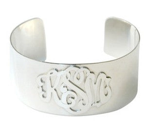 Sterling Silver Monogram Cuff Bracelet by Moon and Lola Apparel & Accessories > Jewelry > Bracelets - 1