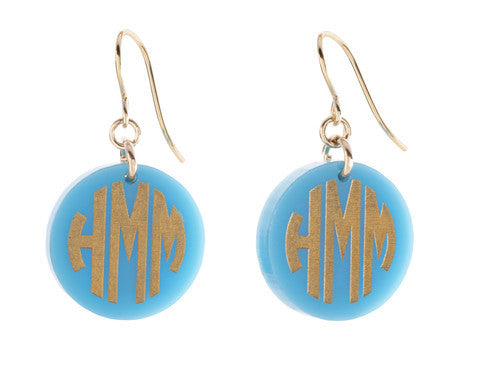 Acrylic Block Monogram Dangle Earrings by Moon and Lola Apparel & Accessories > Jewelry > Earrings - 1