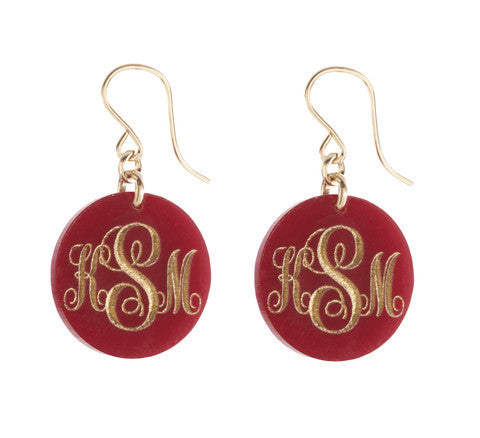 Acrylic Script Monogram Dangle Earrings by Moon and Lola Apparel & Accessories > Jewelry > Earrings - 1