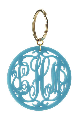 Moon and Lola Rimmed Script Acrylic Monogram Key Chain Apparel & Accessories > Handbag & Wallet Accessories > Keychains - 1