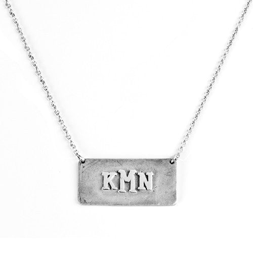 Sterling Silver Monogram Plaque Necklace Apparel & Accessories > Jewelry > Necklaces