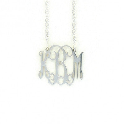 Small Sterling Silver Filigree Monogram Necklace-Split Chain Apparel & Accessories > Jewelry > Necklaces - 1