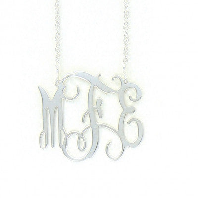Sterling Silver Filigree Monogram Necklace-Split Chain Apparel & Accessories > Jewelry > Necklaces - 1