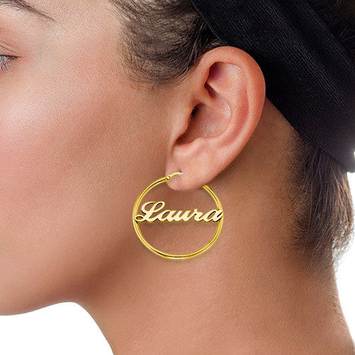 Hoop Name Earrings Apparel & Accessories > Jewelry > Earrings - 2