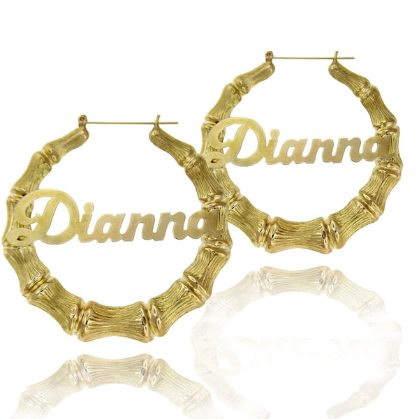 Gold Large Bamboo Name Earrings by Purple Mermaid Designs Apparel & Accessories > Jewelry > Earrings - 1
