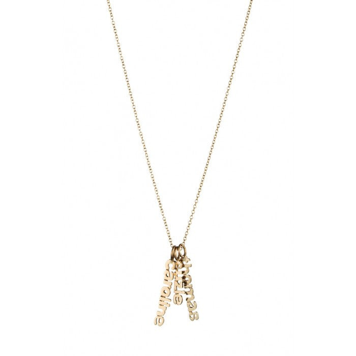 Danielle Stevens Gold Hanging Name Game Necklace Initial