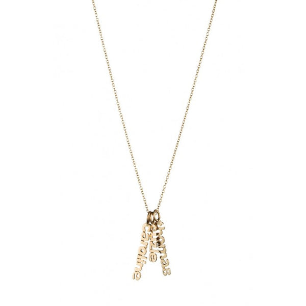 Gold Hanging Name Game Necklace Apparel & Accessories > Jewelry > Necklaces - 1