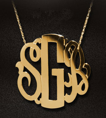 Gold Neo Classic Monogram Necklace by Jane Basch Apparel & Accessories > Jewelry > Necklaces - 2