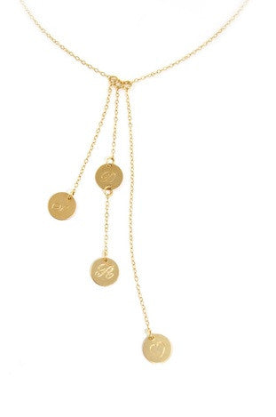 Miriam Merenfeld Personalized Cascade 4 Disc Necklace Apparel & Accessories > Jewelry > Necklaces